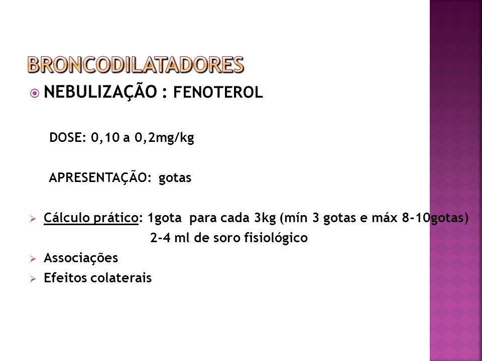 NEBULIZAÇÃO : FENOTEROL DOSE: 0,10 a 0,2mg/kg APRESENTAÇÃO: gotas Cálculo prático: 1gota para cada 3kg (mín 3 gotas e máx 8-10gotas) 2-4 ml de soro fi