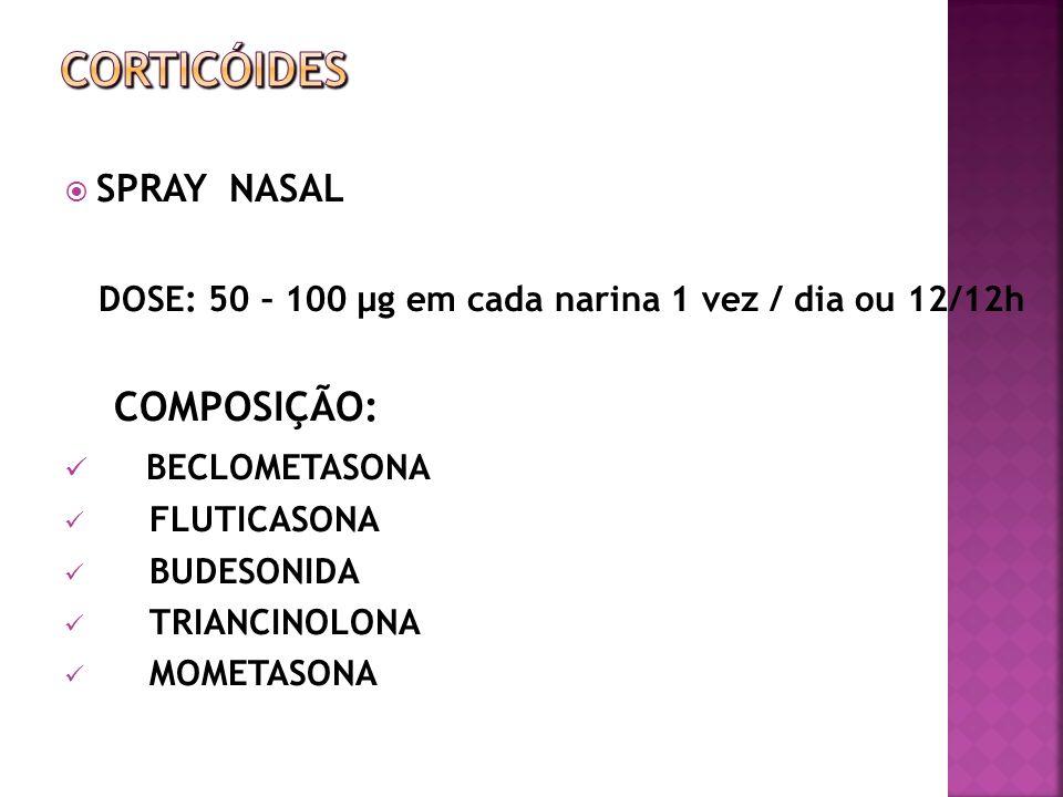 SPRAY NASAL DOSE: 50 – 100 µg em cada narina 1 vez / dia ou 12/12h COMPOSIÇÃO: BECLOMETASONA FLUTICASONA BUDESONIDA TRIANCINOLONA MOMETASONA