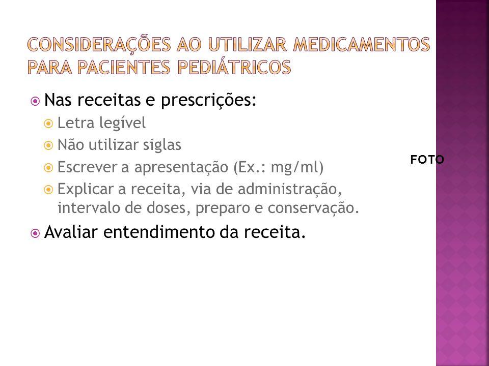 Nas receitas e prescrições: Letra legível Não utilizar siglas Escrever a apresentação (Ex.: mg/ml) Explicar a receita, via de administração, intervalo