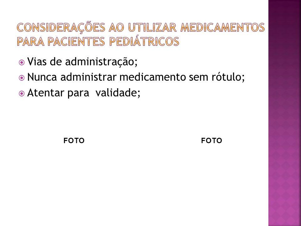 Vias de administração; Nunca administrar medicamento sem rótulo; Atentar para validade; FOTO
