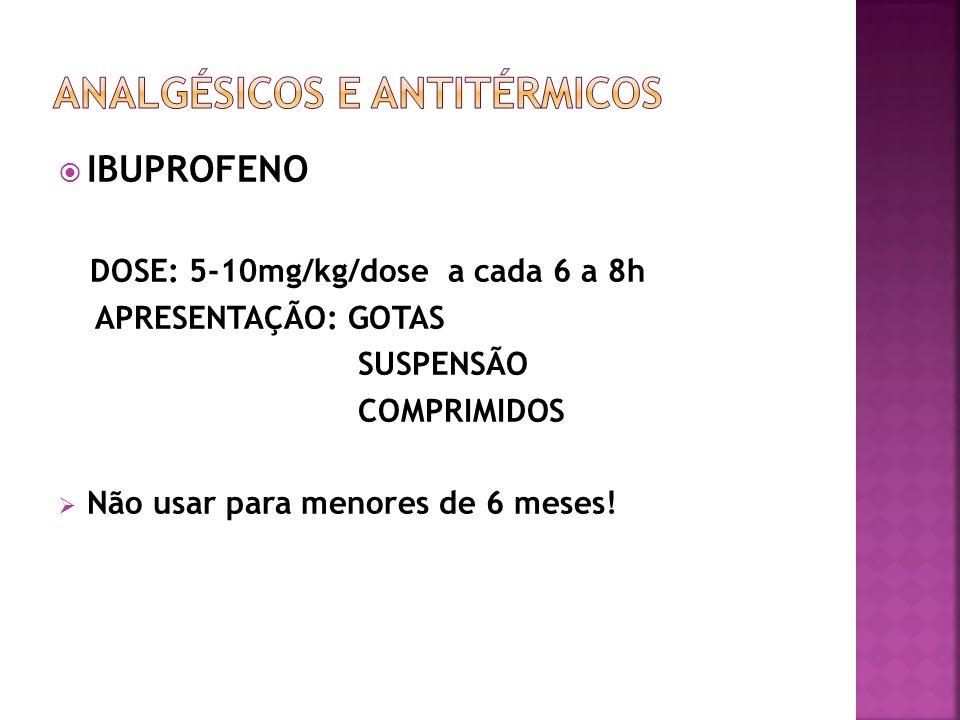 IBUPROFENO DOSE: 5-10mg/kg/dose a cada 6 a 8h APRESENTAÇÃO: GOTAS SUSPENSÃO COMPRIMIDOS Não usar para menores de 6 meses!