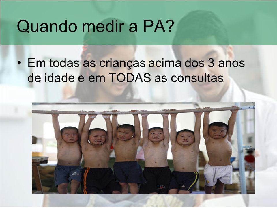 Quando medir a PA? Em todas as crianças acima dos 3 anos de idade e em TODAS as consultas