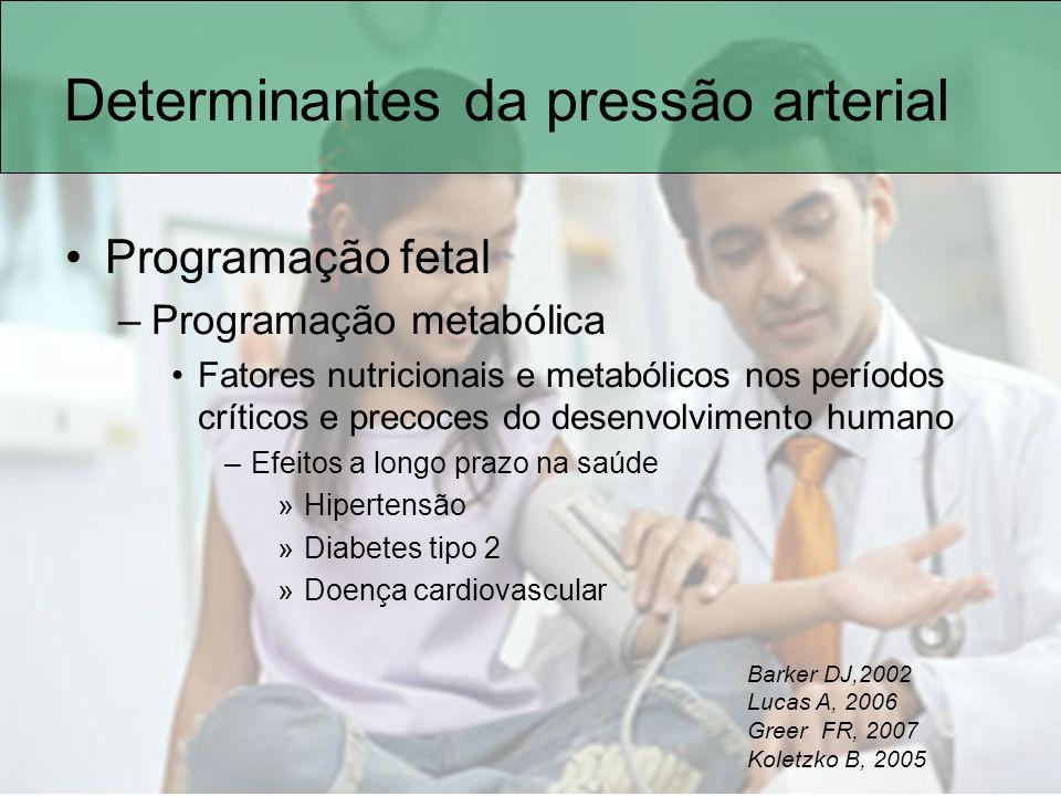Determinantes da pressão arterial Programação fetal –Programação metabólica Fatores nutricionais e metabólicos nos períodos críticos e precoces do des