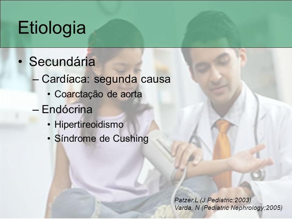 Etiologia Secundária –Cardíaca: segunda causa Coarctação de aorta –Endócrina Hipertireoidismo Síndrome de Cushing Patzer,L (J Pediatric;2003) Varda, N