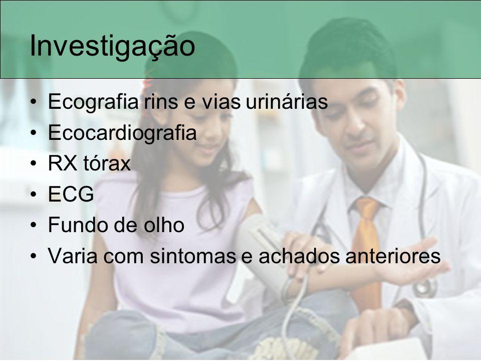 Investigação Ecografia rins e vias urinárias Ecocardiografia RX tórax ECG Fundo de olho Varia com sintomas e achados anteriores
