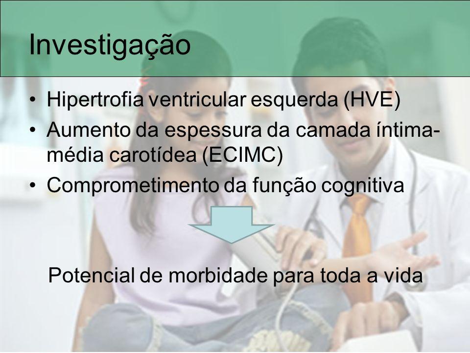 Investigação Hipertrofia ventricular esquerda (HVE) Aumento da espessura da camada íntima- média carotídea (ECIMC) Comprometimento da função cognitiva