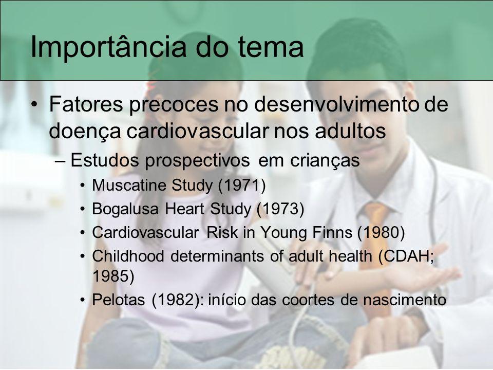 Epidemiologia Obesidade e TV –Correlação linear com horas de TV Cada hora a mais dobra o risco de obesidade –Obesidade aumenta o risco de HAS –Aumento do IMC aumenta valores pressóricos »RR=3,3 (IC=2,5-4,2) Diminui horas de atividade física Aumenta os lanchinhos durante a programação –26% das crianças nos EUA assistem a mais de 4horas por dia de TV –Brasil: 33% mais de 4 horas/dia Stettler, N.