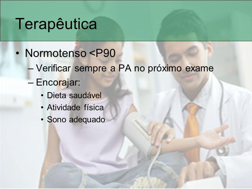 Terapêutica Normotenso <P90 –Verificar sempre a PA no próximo exame –Encorajar: Dieta saudável Atividade física Sono adequado