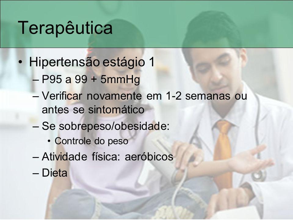 Terapêutica Hipertensão estágio 1 –P95 a 99 + 5mmHg –Verificar novamente em 1-2 semanas ou antes se sintomático –Se sobrepeso/obesidade: Controle do p