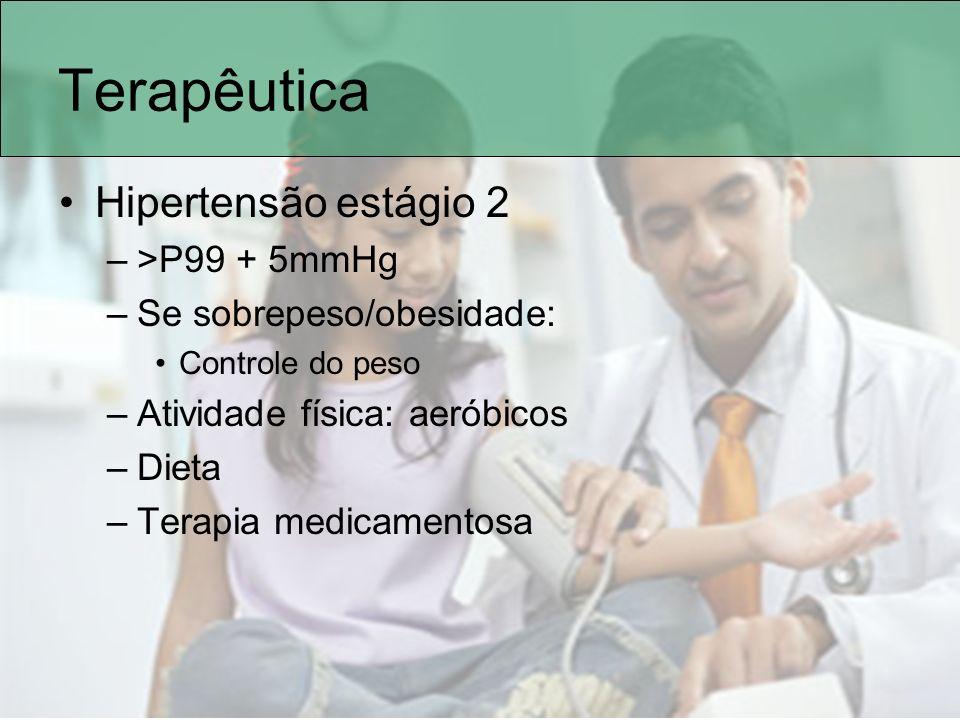 Terapêutica Hipertensão estágio 2 –>P99 + 5mmHg –Se sobrepeso/obesidade: Controle do peso –Atividade física: aeróbicos –Dieta –Terapia medicamentosa