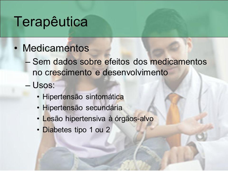 Terapêutica Medicamentos –Sem dados sobre efeitos dos medicamentos no crescimento e desenvolvimento –Usos: Hipertensão sintomática Hipertensão secundá