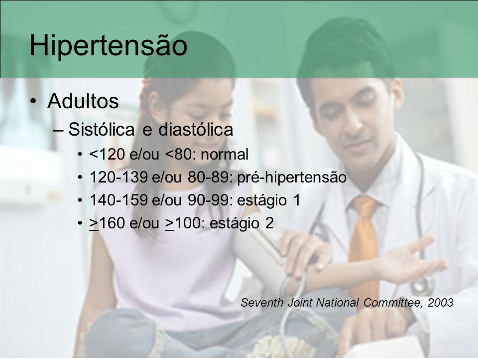 Verificando os valores Tabela PA diastólica, meninos idade anos Percentil altura/PA 5%10%25%50%75%90%95% 550 5152535455 906566676869 70 95697071727374 997778798081 82 Ex: masc, 5 anos, alt 115cm (perc 95%) Hipertensão se PAdiast>74mmHg