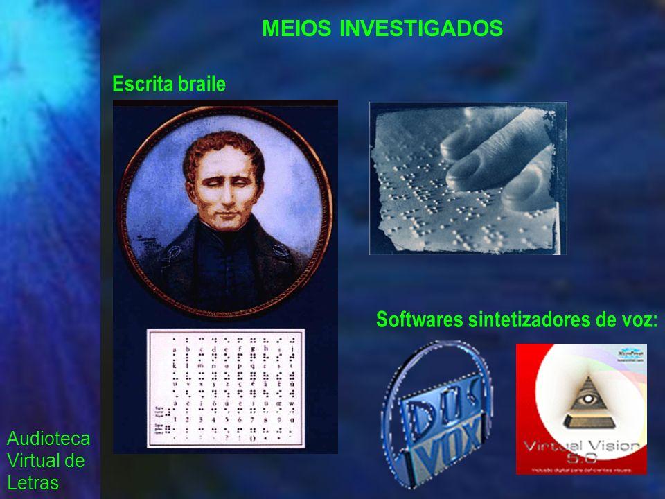 Audioteca Virtual de Letras MEIOS INVESTIGADOS Escrita braile Softwares sintetizadores de voz: