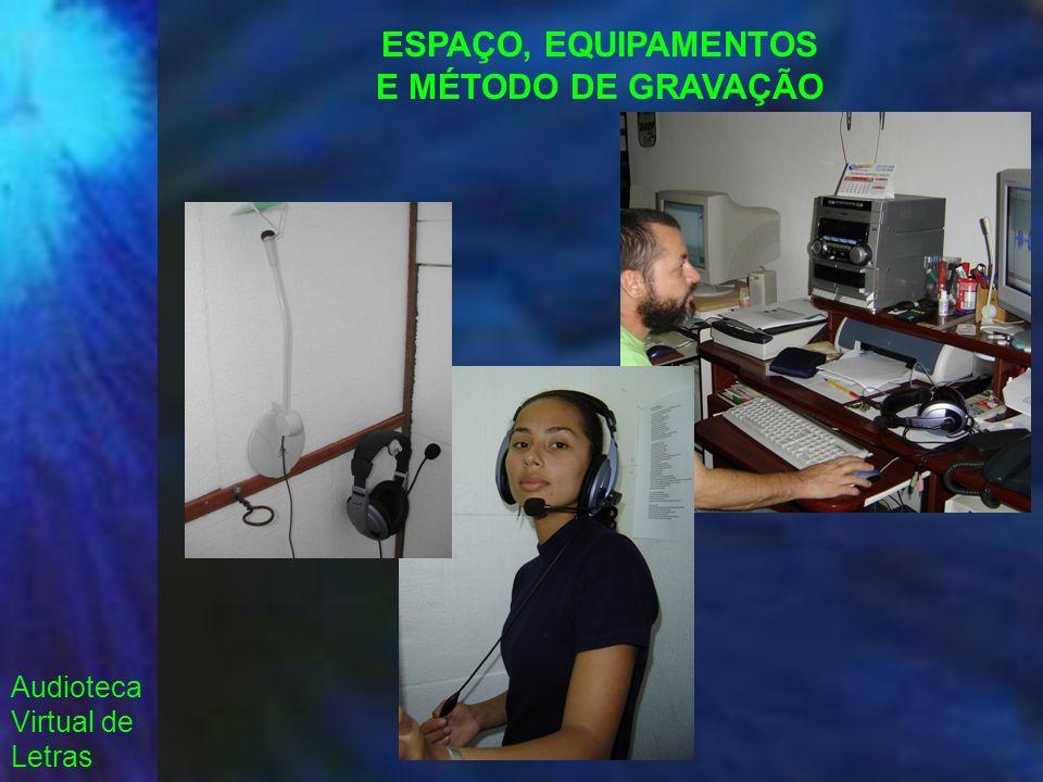 Audioteca Virtual de Letras ESPAÇO, EQUIPAMENTOS E MÉTODO DE GRAVAÇÃO