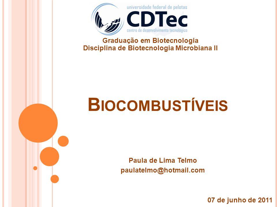 B IOCOMBUSTÍVEIS Paula de Lima Telmo paulatelmo@hotmail.com 07 de junho de 2011 Graduação em Biotecnologia Disciplina de Biotecnologia Microbiana II