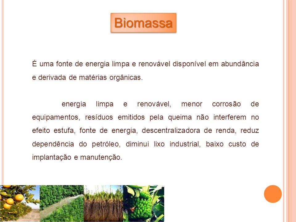 BiomassaBiomassa É uma fonte de energia limpa e renovável disponível em abundância e derivada de matérias orgânicas. energia limpa e renovável, menor