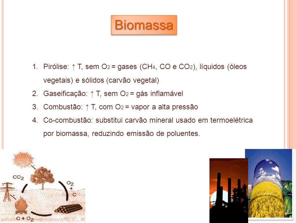 1.Pirólise: T, sem O 2 = gases (CH 4, CO e CO 2 ), líquidos (óleos vegetais) e sólidos (carvão vegetal) 2.Gaseificação: T, sem O 2 = gás inflamável 3.