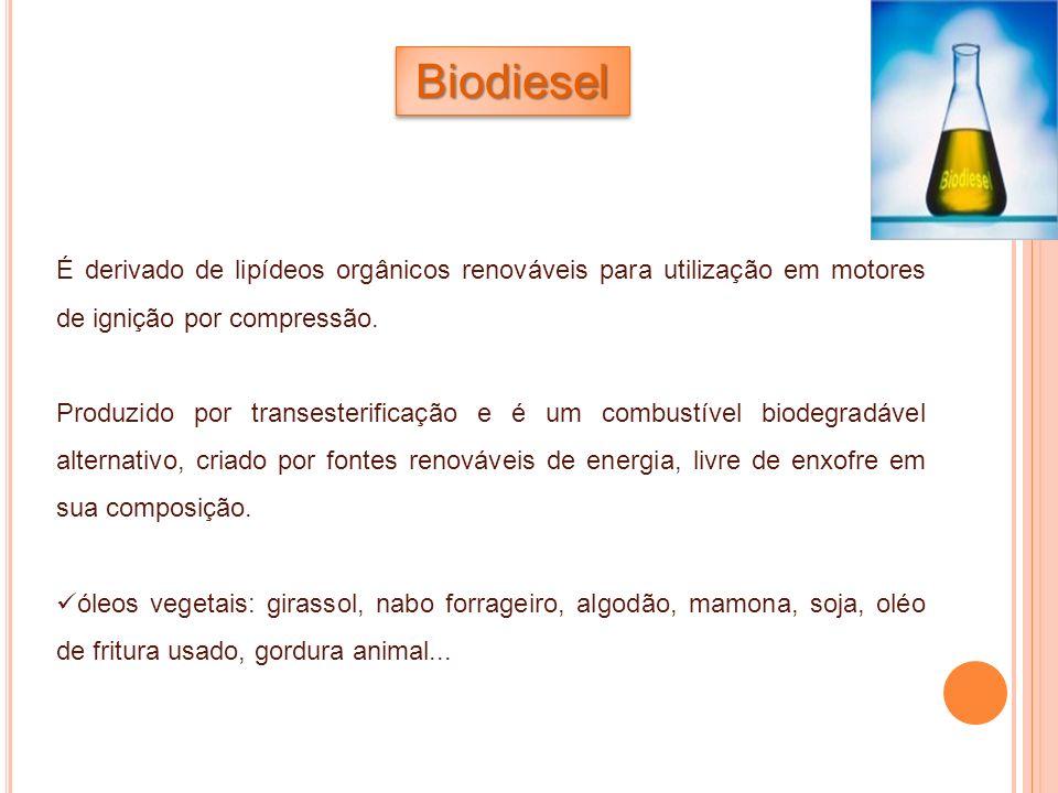 BiodieselBiodiesel É derivado de lipídeos orgânicos renováveis para utilização em motores de ignição por compressão. Produzido por transesterificação