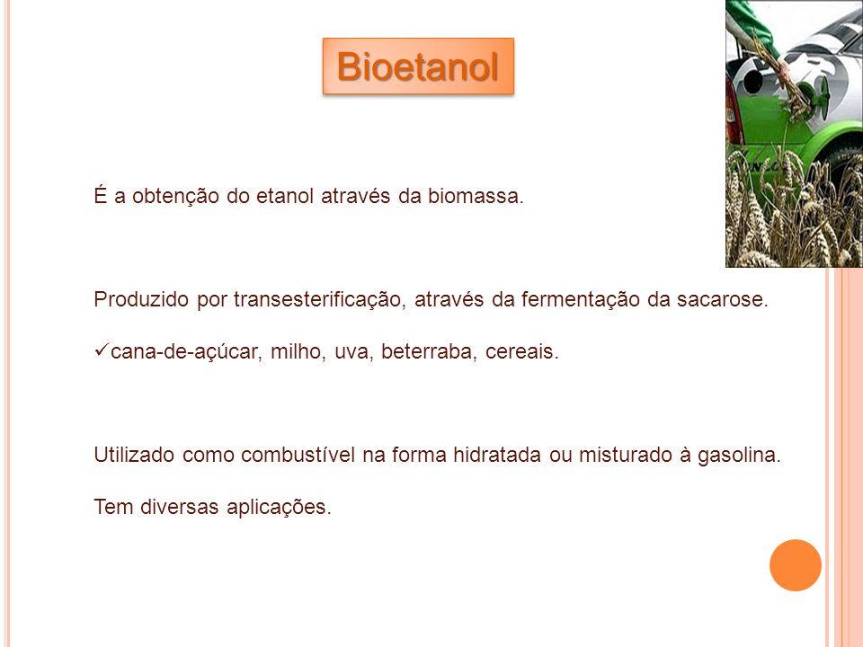 BioetanolBioetanol É a obtenção do etanol através da biomassa. Produzido por transesterificação, através da fermentação da sacarose. cana-de-açúcar, m