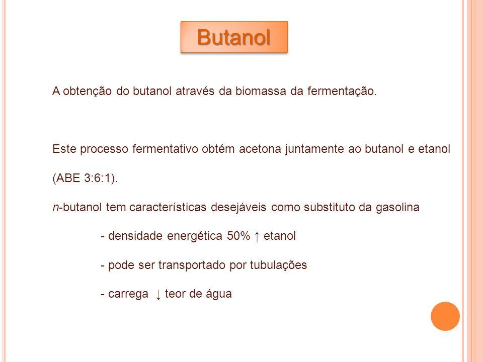 ButanolButanol A obtenção do butanol através da biomassa da fermentação. Este processo fermentativo obtém acetona juntamente ao butanol e etanol (ABE