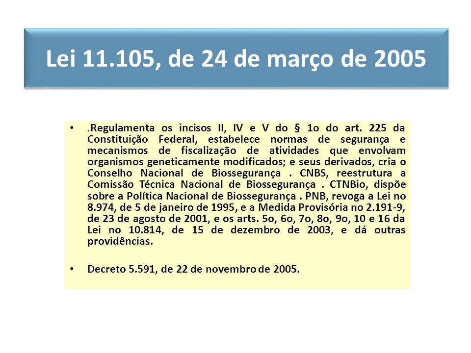 Lei 11.105, de 24 de março de 2005.Regulamenta os incisos II, IV e V do § 1o do art. 225 da Constituição Federal, estabelece normas de segurança e mec