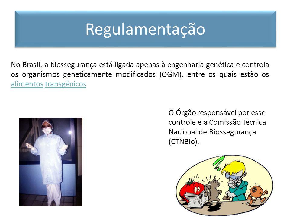 No Brasil, a biossegurança está ligada apenas à engenharia genética e controla os organismos geneticamente modificados (OGM), entre os quais estão os
