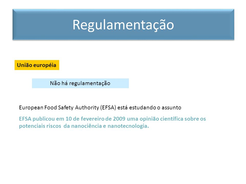 European Food Safety Authority (EFSA) está estudando o assunto EFSA publicou em 10 de fevereiro de 2009 uma opinião científica sobre os potenciais ris