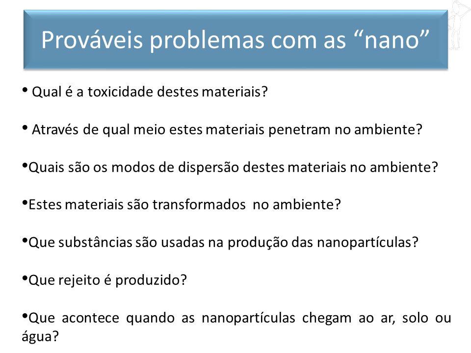 Qual é a toxicidade destes materiais? Através de qual meio estes materiais penetram no ambiente? Quais são os modos de dispersão destes materiais no a