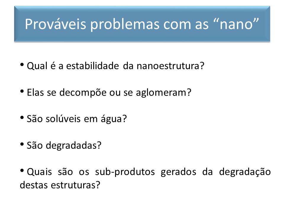 Qual é a estabilidade da nanoestrutura? Elas se decompõe ou se aglomeram? São solúveis em água? São degradadas? Quais são os sub-produtos gerados da d