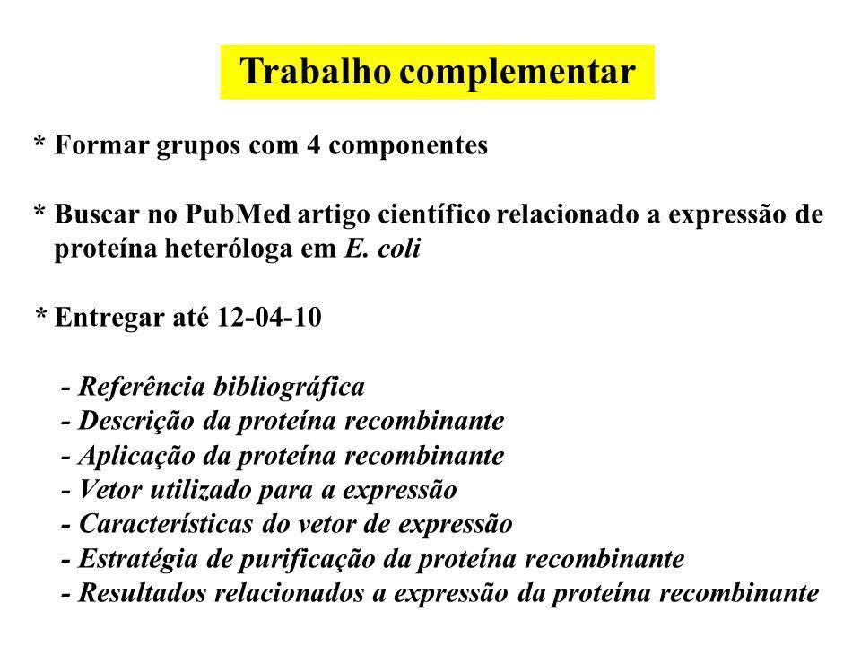 * Formar grupos com 4 componentes * Buscar no PubMed artigo científico relacionado a expressão de proteína heteróloga em E. coli * Entregar até 12-04-