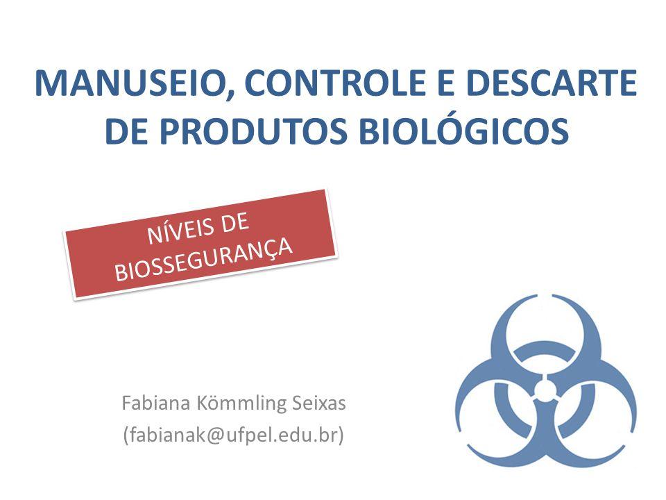 MANUSEIO, CONTROLE E DESCARTE DE PRODUTOS BIOLÓGICOS Fabiana Kömmling Seixas (fabianak@ufpel.edu.br) NÍVEIS DE BIOSSEGURANÇA