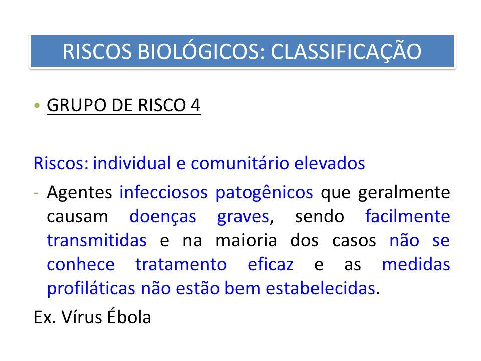 GRUPO DE RISCO 4 Riscos: individual e comunitário elevados -Agentes infecciosos patogênicos que geralmente causam doenças graves, sendo facilmente tra