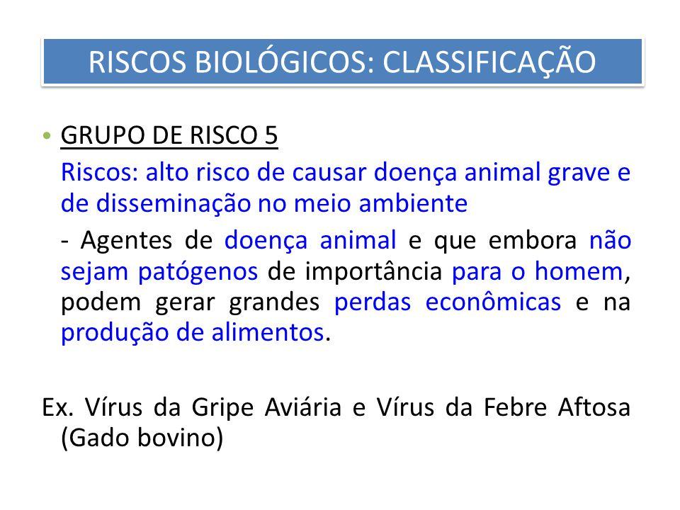 GRUPO DE RISCO 5 Riscos: alto risco de causar doença animal grave e de disseminação no meio ambiente - Agentes de doença animal e que embora não sejam
