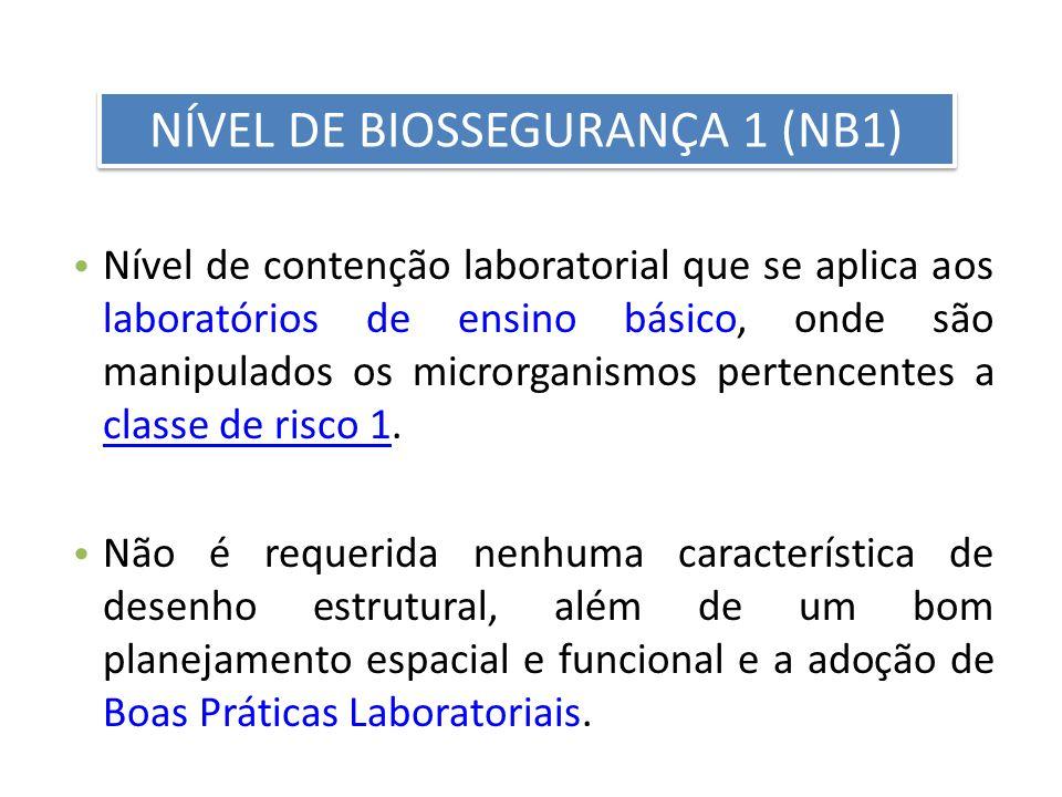 Nível de contenção laboratorial que se aplica aos laboratórios de ensino básico, onde são manipulados os microrganismos pertencentes a classe de risco