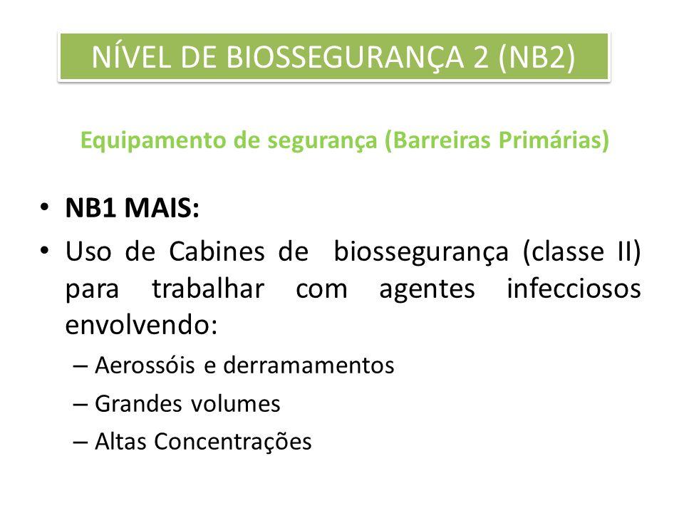 Equipamento de segurança (Barreiras Primárias) NB1 MAIS: Uso de Cabines de biossegurança (classe II) para trabalhar com agentes infecciosos envolvendo