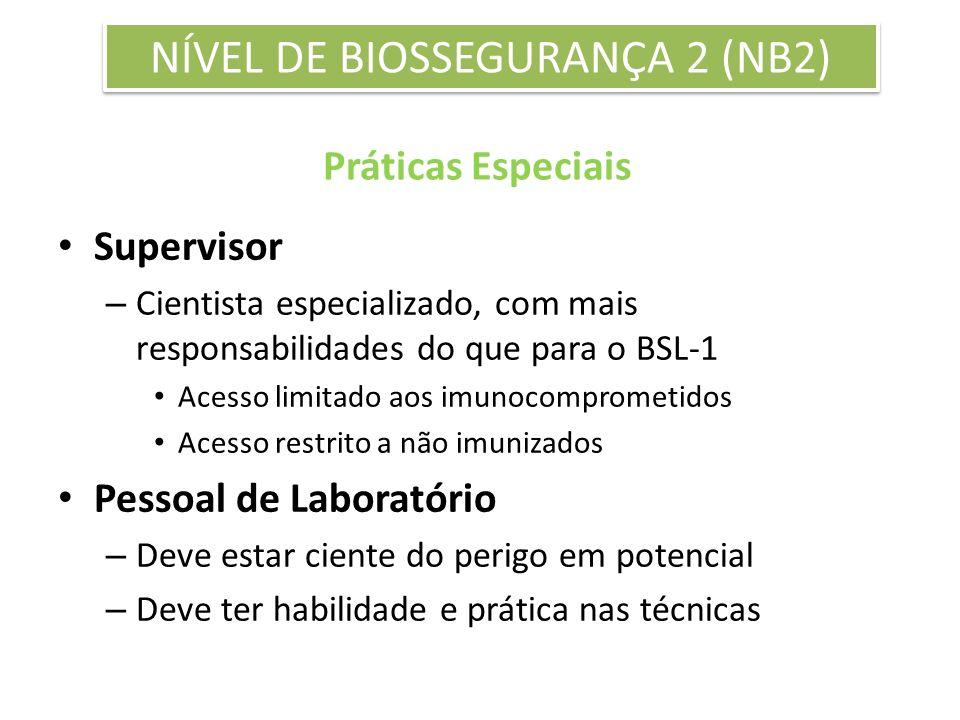 Práticas Especiais Supervisor – Cientista especializado, com mais responsabilidades do que para o BSL-1 Acesso limitado aos imunocomprometidos Acesso