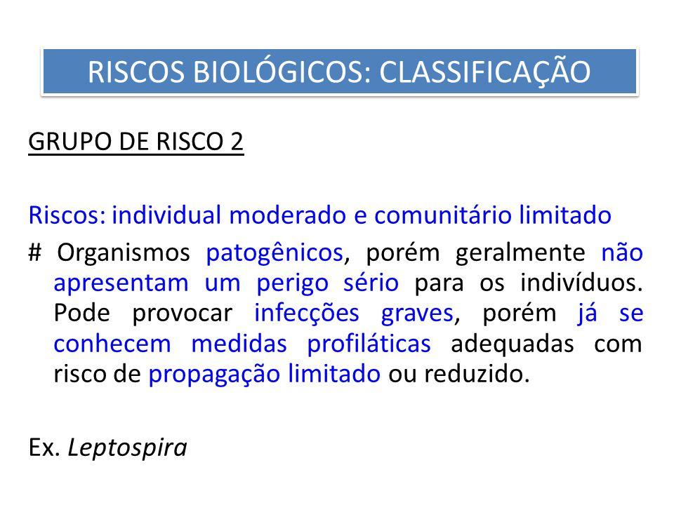 GRUPO DE RISCO 2 Riscos: individual moderado e comunitário limitado # Organismos patogênicos, porém geralmente não apresentam um perigo sério para os