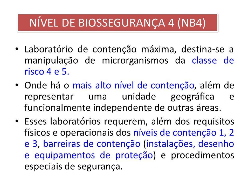 Laboratório de contenção máxima, destina-se a manipulação de microrganismos da classe de risco 4 e 5. Onde há o mais alto nível de contenção, além de