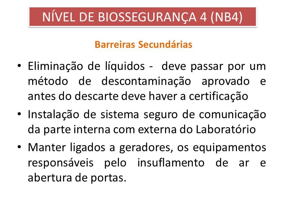 Barreiras Secundárias Eliminação de líquidos - deve passar por um método de descontaminação aprovado e antes do descarte deve haver a certificação Ins