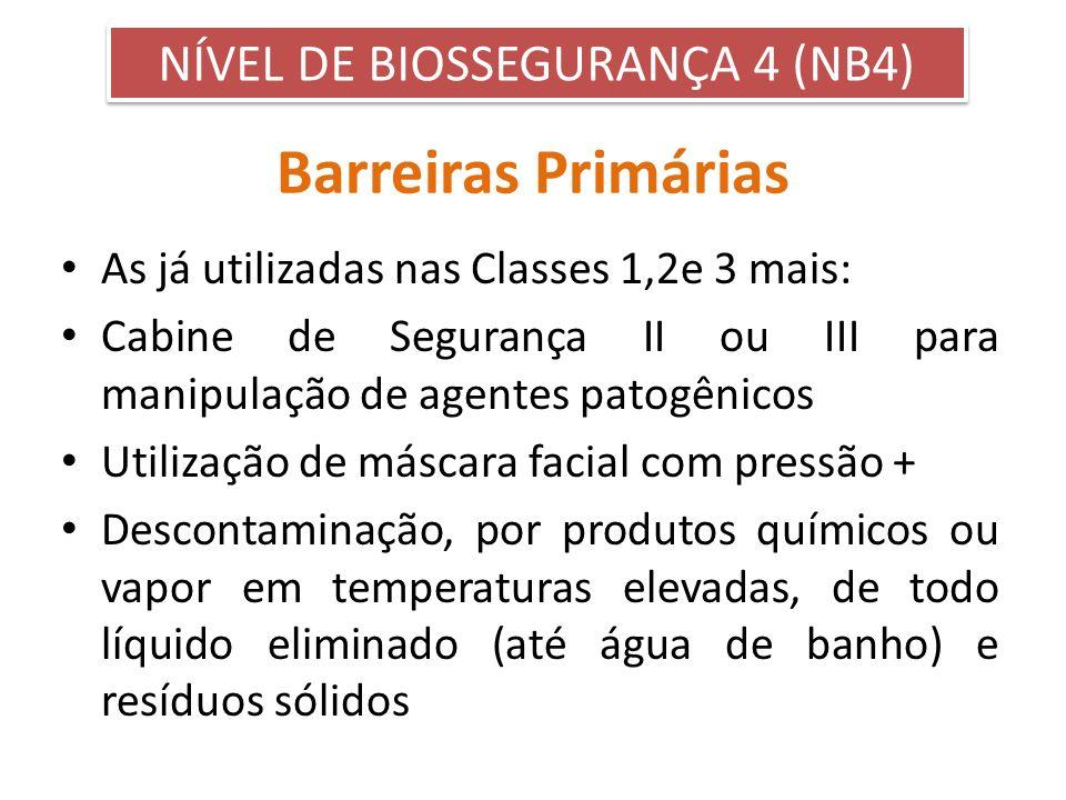 Barreiras Primárias As já utilizadas nas Classes 1,2e 3 mais: Cabine de Segurança II ou III para manipulação de agentes patogênicos Utilização de másc