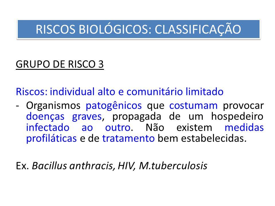 GRUPO DE RISCO 3 Riscos: individual alto e comunitário limitado -Organismos patogênicos que costumam provocar doenças graves, propagada de um hospedei