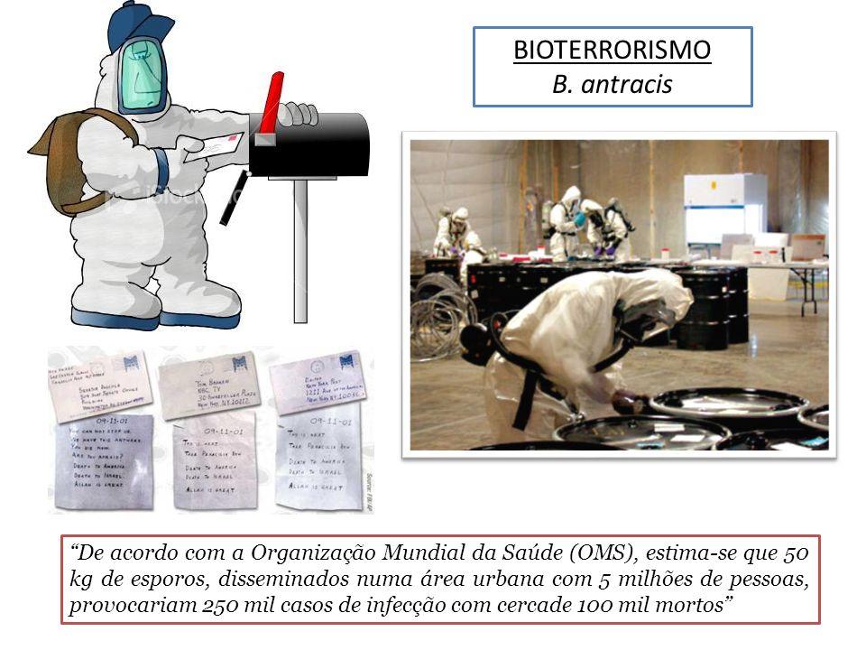 BIOTERRORISMO B. antracis De acordo com a Organização Mundial da Saúde (OMS), estima-se que 50 kg de esporos, disseminados numa área urbana com 5 milh