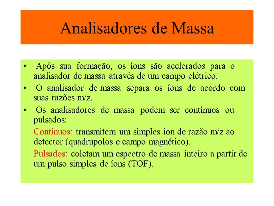 Após sua formação, os íons são acelerados para o analisador de massa através de um campo elétrico. O analisador de massa separa os íons de acordo com