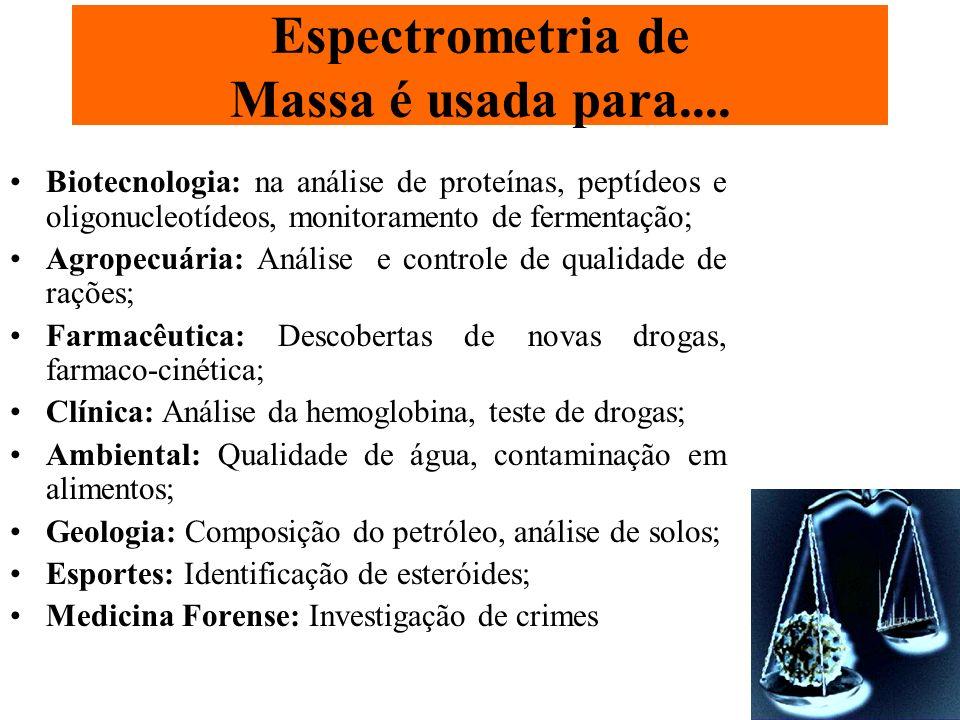 Aplicação da Espectrometria de Massa em proteômica Informação de massa molecular – Com precisão; Identificação de proteínas usando massa molecular de peptídeos trípticos; Informação Estrutural; Sequenciamento de peptídeos; Identificar modificações pós-traducionais (fosforilação, glicosilação e pontes de sulfeto).