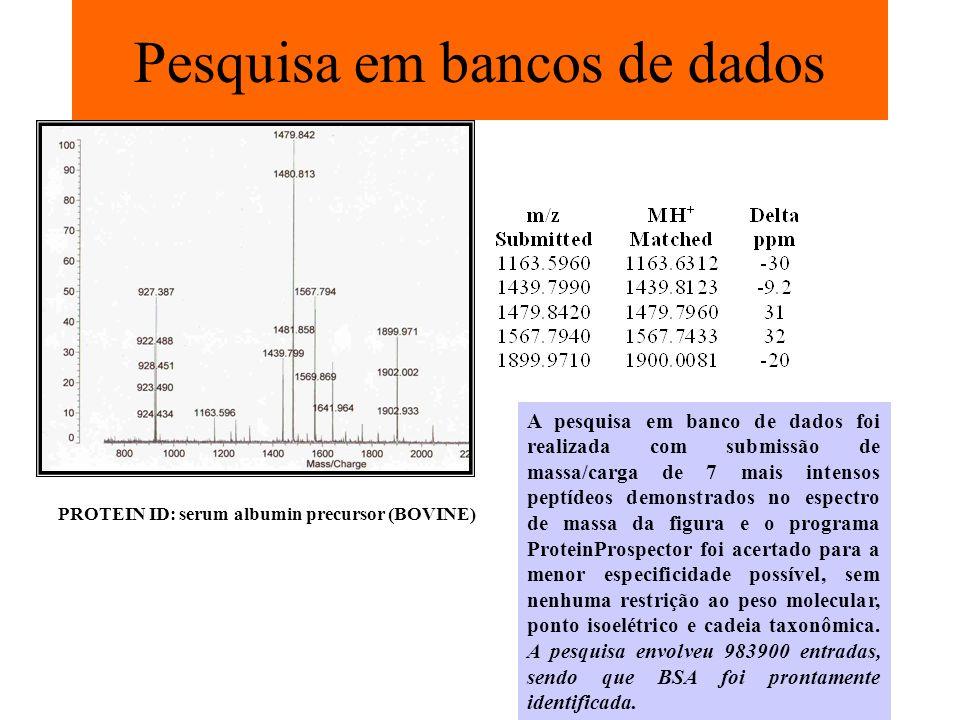 Pesquisa em bancos de dados PROTEIN ID: serum albumin precursor (BOVINE) A pesquisa em banco de dados foi realizada com submissão de massa/carga de 7