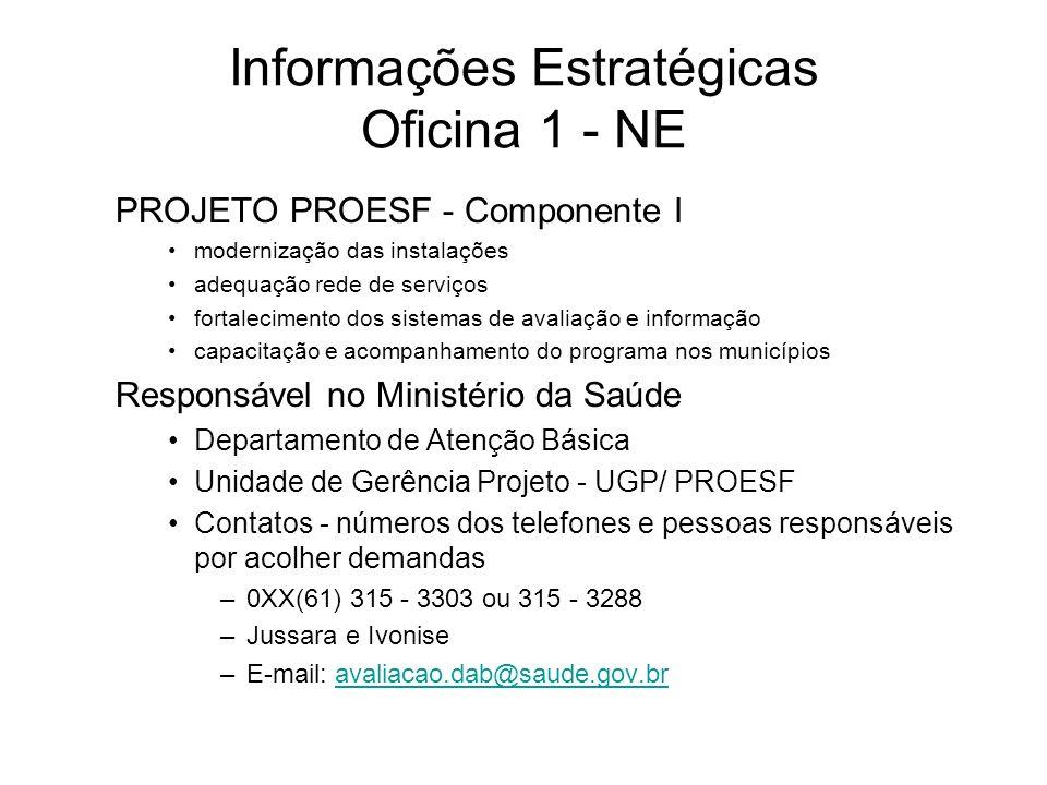Informações Estratégicas Oficina 1 - NE PROJETO PROESF - Componente I modernização das instalações adequação rede de serviços fortalecimento dos siste