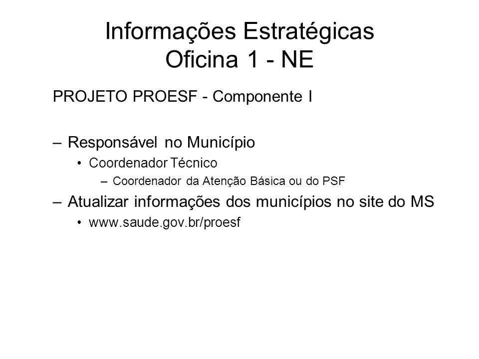 Informações Estratégicas Oficina 1 - NE PROJETO PROESF - Componente I –Responsável no Município Coordenador Técnico –Coordenador da Atenção Básica ou