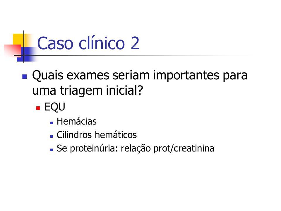 Caso clínico 2 Quais exames seriam importantes para uma triagem inicial? EQU Hemácias Cilindros hemáticos Se proteinúria: relação prot/creatinina