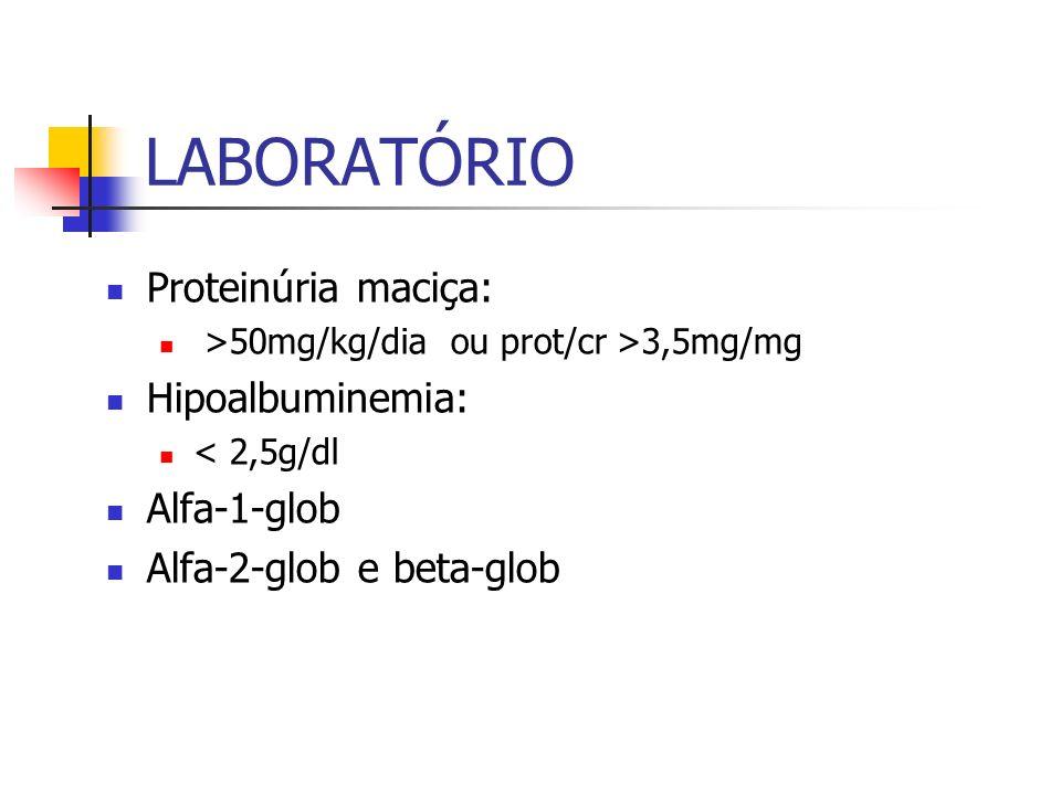 LABORATÓRIO Proteinúria maciça: >50mg/kg/dia ou prot/cr >3,5mg/mg Hipoalbuminemia: < 2,5g/dl Alfa-1-glob Alfa-2-glob e beta-glob