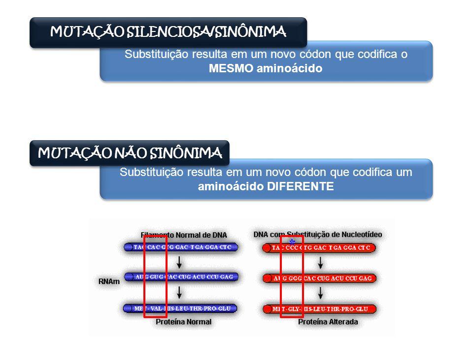 MUTAÇÃO SILENCIOSA/SINÔNIMA Substituição resulta em um novo códon que codifica o MESMO aminoácido MUTAÇÃO NÃO SINÔNIMA Substituição resulta em um novo